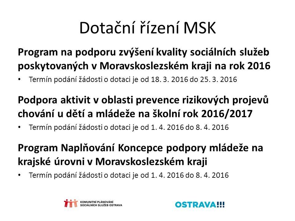 Dotační řízení MSK Program na podporu zvýšení kvality sociálních služeb poskytovaných v Moravskoslezském kraji na rok 2016 Termín podání žádosti o dotaci je od 18.