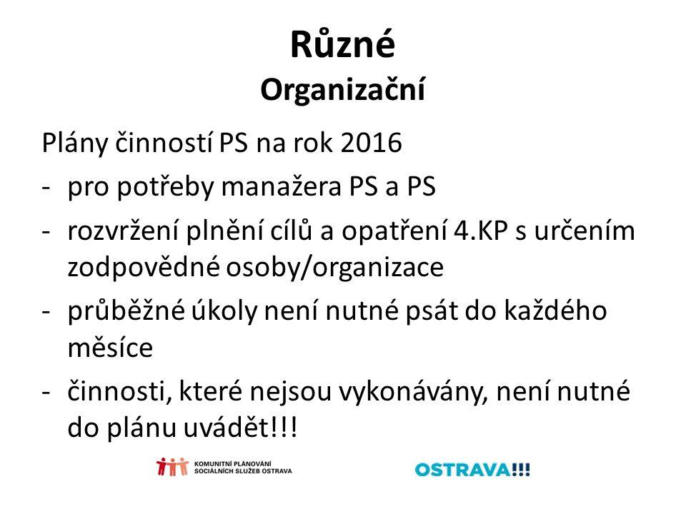 Různé Organizační Plány činností PS na rok 2016 -pro potřeby manažera PS a PS -rozvržení plnění cílů a opatření 4.KP s určením zodpovědné osoby/organizace -průběžné úkoly není nutné psát do každého měsíce -činnosti, které nejsou vykonávány, není nutné do plánu uvádět!!!