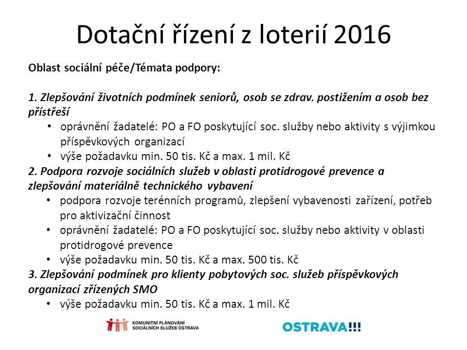 Dotační řízení z loterií 2016 Oblast sociální péče/Témata podpory: 1.