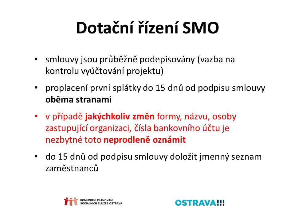 Dotační řízení SMO smlouvy jsou průběžně podepisovány (vazba na kontrolu vyúčtování projektu) proplacení první splátky do 15 dnů od podpisu smlouvy oběma stranami v případě jakýchkoliv změn formy, názvu, osoby zastupující organizaci, čísla bankovního účtu je nezbytné toto neprodleně oznámit do 15 dnů od podpisu smlouvy doložit jmenný seznam zaměstnanců