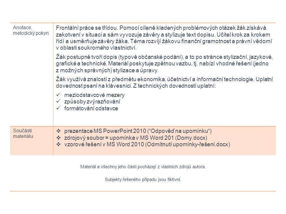 ODPOVĚĎ NA UPOMÍNKU FUNKČNÍ A TECHNICKÉ PROSTŘEDKY: MS WORD 2010