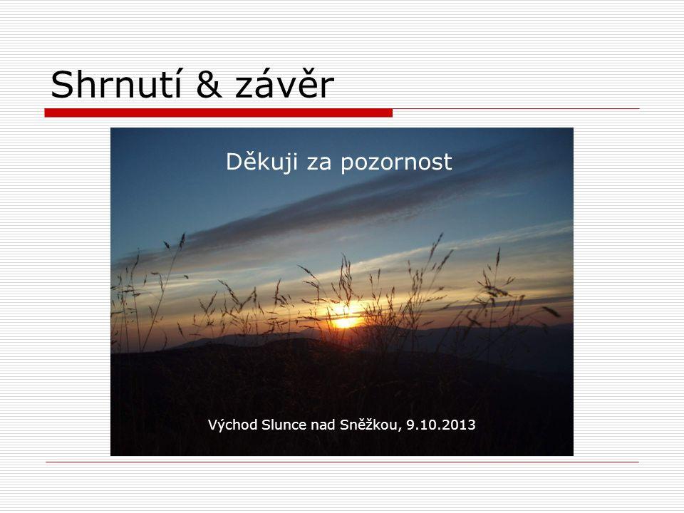 Děkuji za pozornost Shrnutí & závěr Východ Slunce nad Sněžkou, 9.10.2013