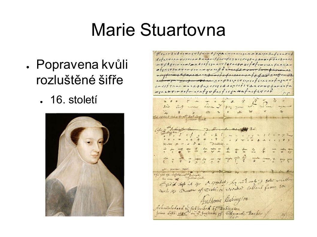 Marie Stuartovna ● Popravena kvůli rozluštěné šifře ● 16. století