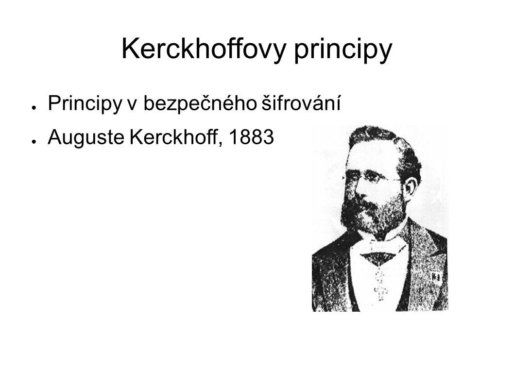 Kerckhoffovy principy ● Principy v bezpečného šifrování ● Auguste Kerckhoff, 1883
