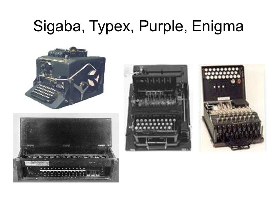 Sigaba, Typex, Purple, Enigma