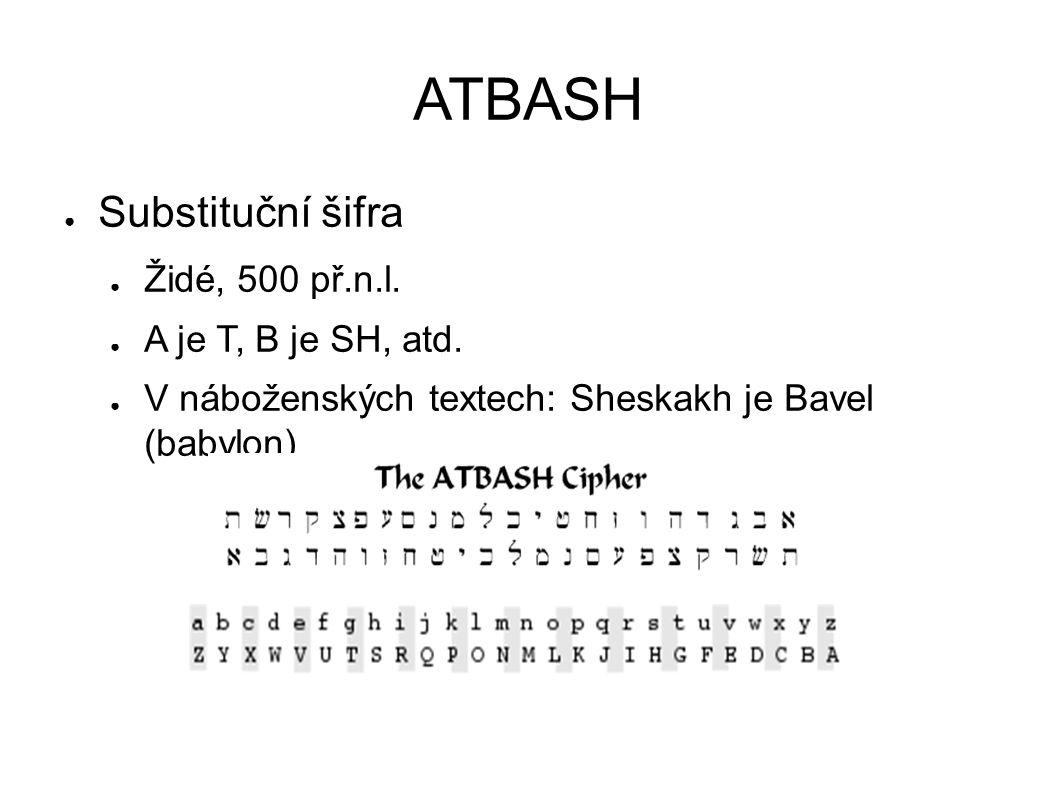 ATBASH ● Substituční šifra ● Židé, 500 př.n.l.● A je T, B je SH, atd.