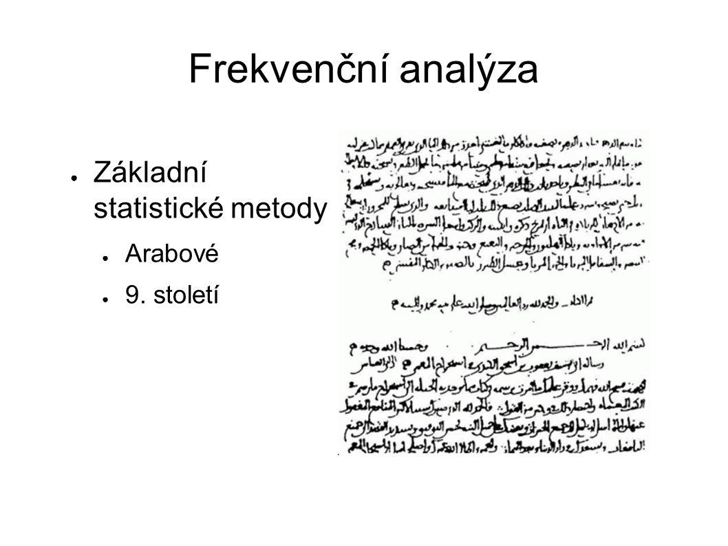 Frekvenční analýza ● Základní statistické metody ● Arabové ● 9. století