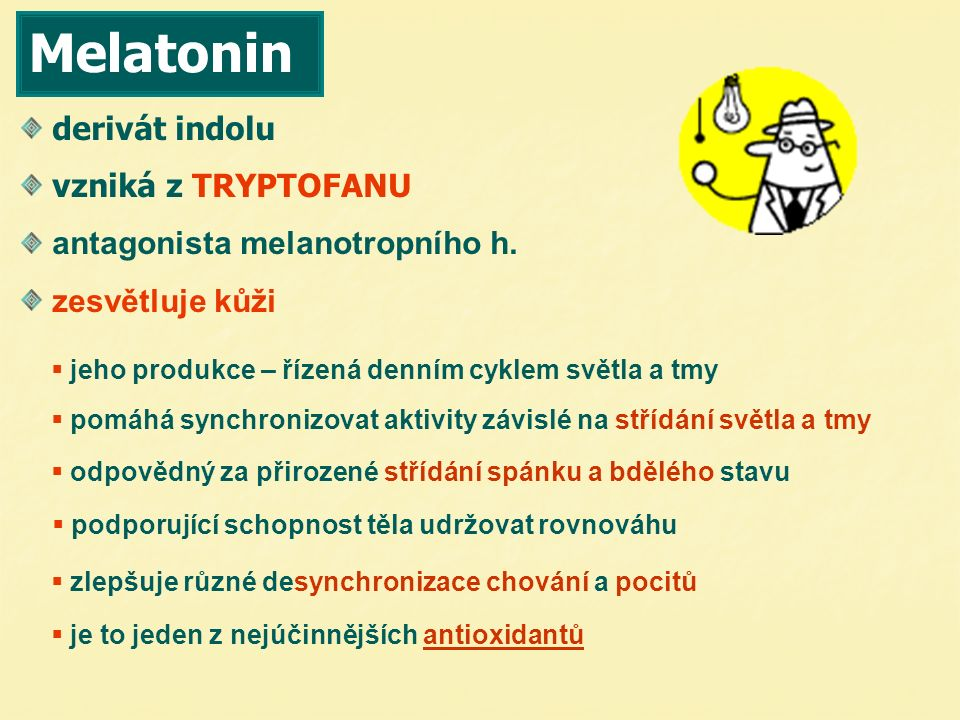 12.00 20.00 3.007.00 MELATONIN produkce melatoninu v závislosti na čase
