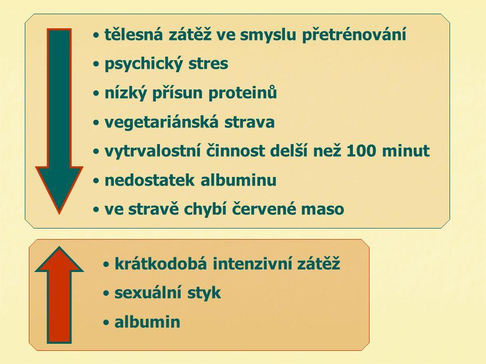 tělesná zátěž ve smyslu přetrénování psychický stres nízký přísun proteinů vegetariánská strava vytrvalostní činnost delší než 100 minut nedostatek al