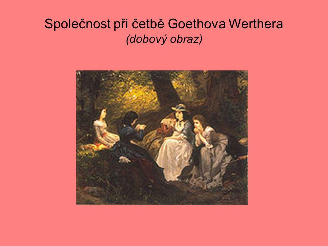 Společnost při četbě Goethova Werthera (dobový obraz)