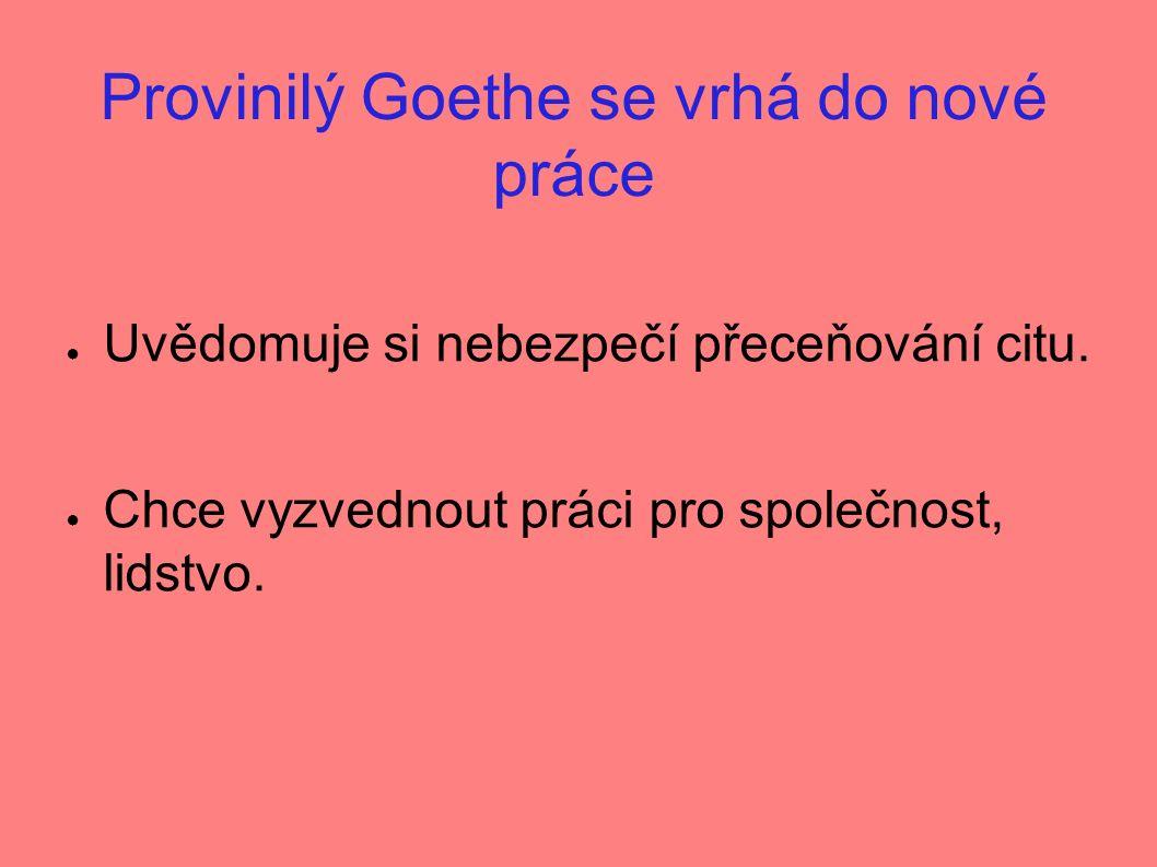 Provinilý Goethe se vrhá do nové práce ● Uvědomuje si nebezpečí přeceňování citu.