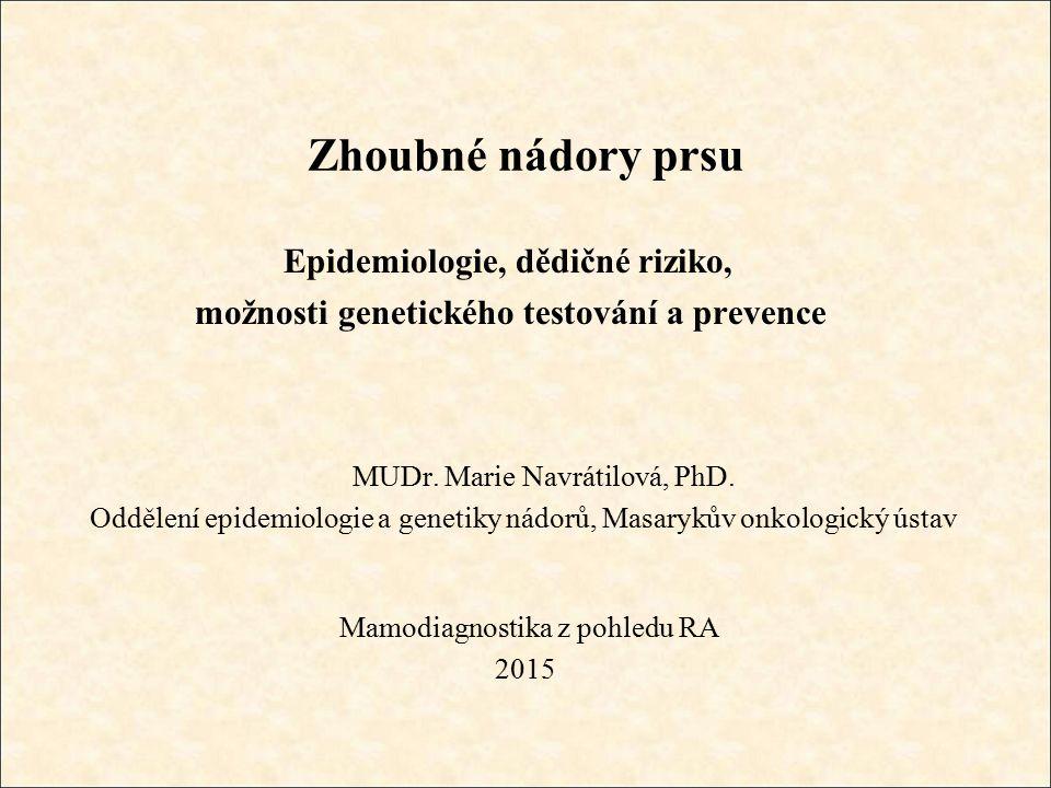 Epidemiologie, dědičné riziko, možnosti genetického testování a prevence MUDr.