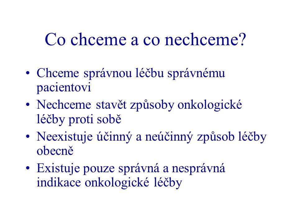 Kvalita v onkologii 1) Jak léčíme pacienty s určitou diagnózou.