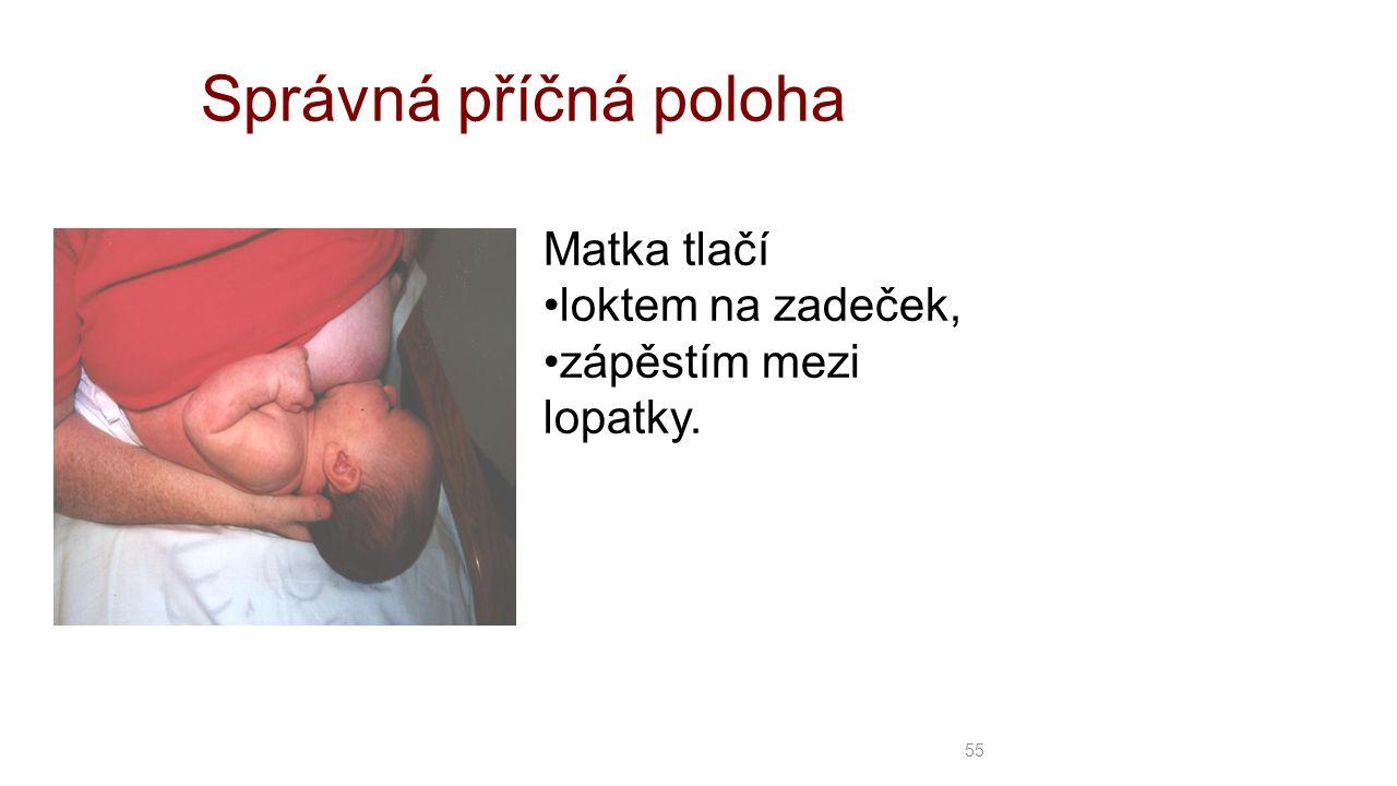 Správná příčná poloha Matka tlačí loktem na zadeček, zápěstím mezi lopatky. 55