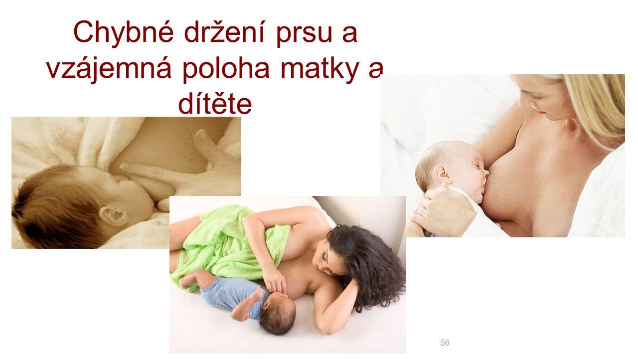 56 Chybné držení prsu a vzájemná poloha matky a dítěte