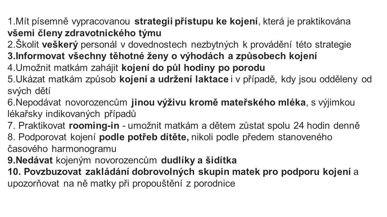 1) Písemně vypracovaná strategie přístupu ke kojení, praktikována všemi členy zdravotnického týmu Nemocnice má písemně vypracované postupy, jak uvést těchto 10 bodů do praxe (vnitřní předpisy, ošetřovatelské standardy apod.) Ty by měly být dostupné veškerému personálu (zdrav.