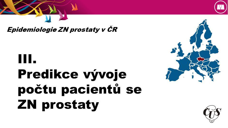 III. Predikce vývoje počtu pacientů se ZN prostaty Epidemiologie ZN prostaty v ČR
