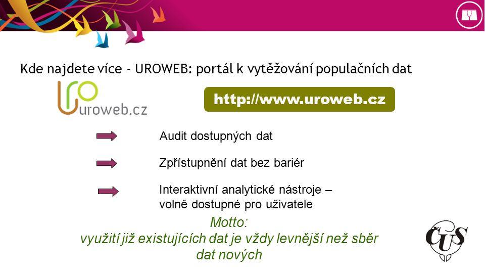 Kde najdete více - UROWEB: portál k vytěžování populačních dat http://www.uroweb.cz Audit dostupných dat Zpřístupnění dat bez bariér Interaktivní analytické nástroje – volně dostupné pro uživatele Motto: využití již existujících dat je vždy levnější než sběr dat nových