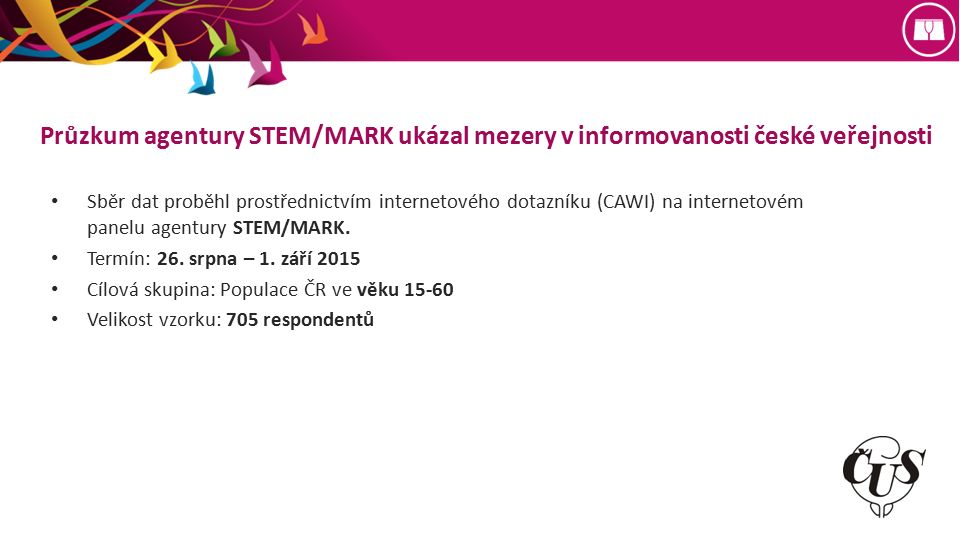 Průzkum agentury STEM/MARK ukázal mezery v informovanosti české veřejnosti Sběr dat proběhl prostřednictvím internetového dotazníku (CAWI) na internetovém panelu agentury STEM/MARK.