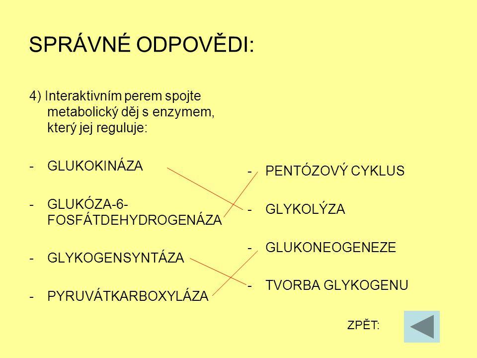 SPRÁVNÉ ODPOVĚDI: 4) Interaktivním perem spojte metabolický děj s enzymem, který jej reguluje: -GLUKOKINÁZA -GLUKÓZA-6- FOSFÁTDEHYDROGENÁZA -GLYKOGENS
