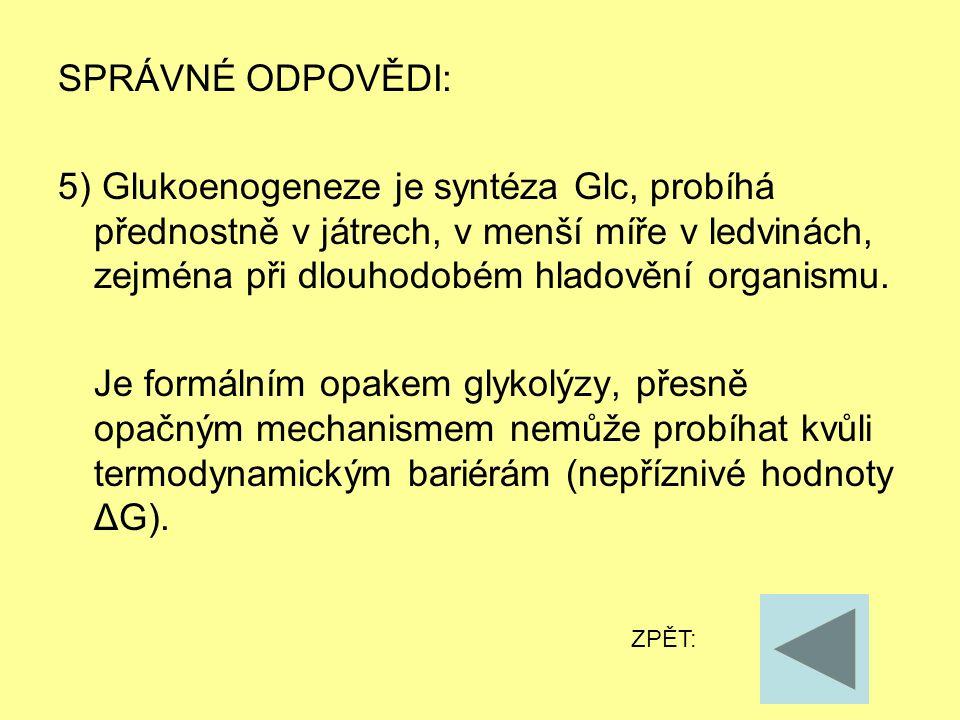 SPRÁVNÉ ODPOVĚDI: 5) Glukoenogeneze je syntéza Glc, probíhá přednostně v játrech, v menší míře v ledvinách, zejména při dlouhodobém hladovění organism