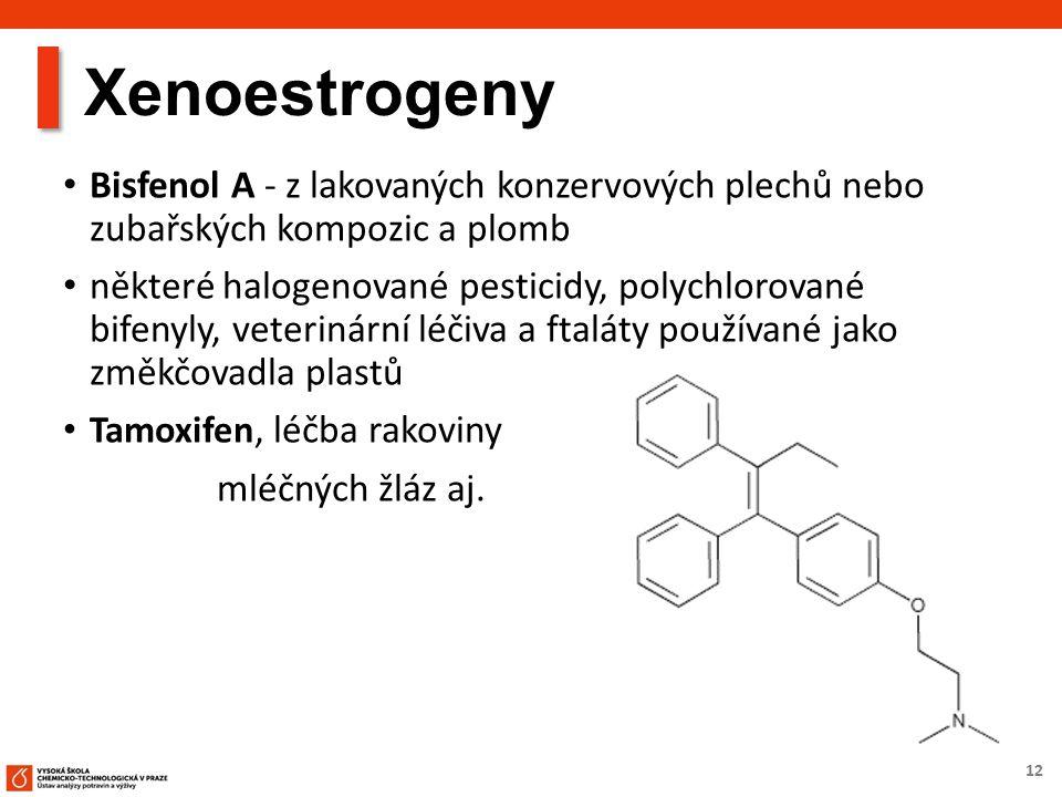 12 Xenoestrogeny Bisfenol A - z lakovaných konzervových plechů nebo zubařských kompozic a plomb některé halogenované pesticidy, polychlorované bifenyl