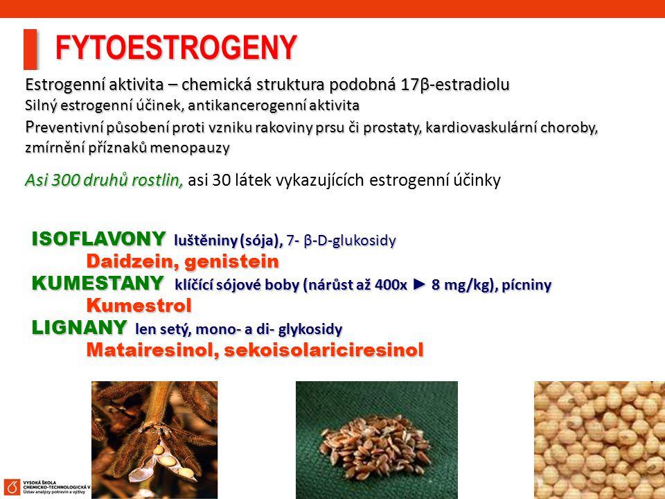 14 Estrogenní aktivita – chemická struktura podobná 17β-estradiolu Silný estrogenní účinek, antikancerogenní aktivita P reventivní působení proti vzni