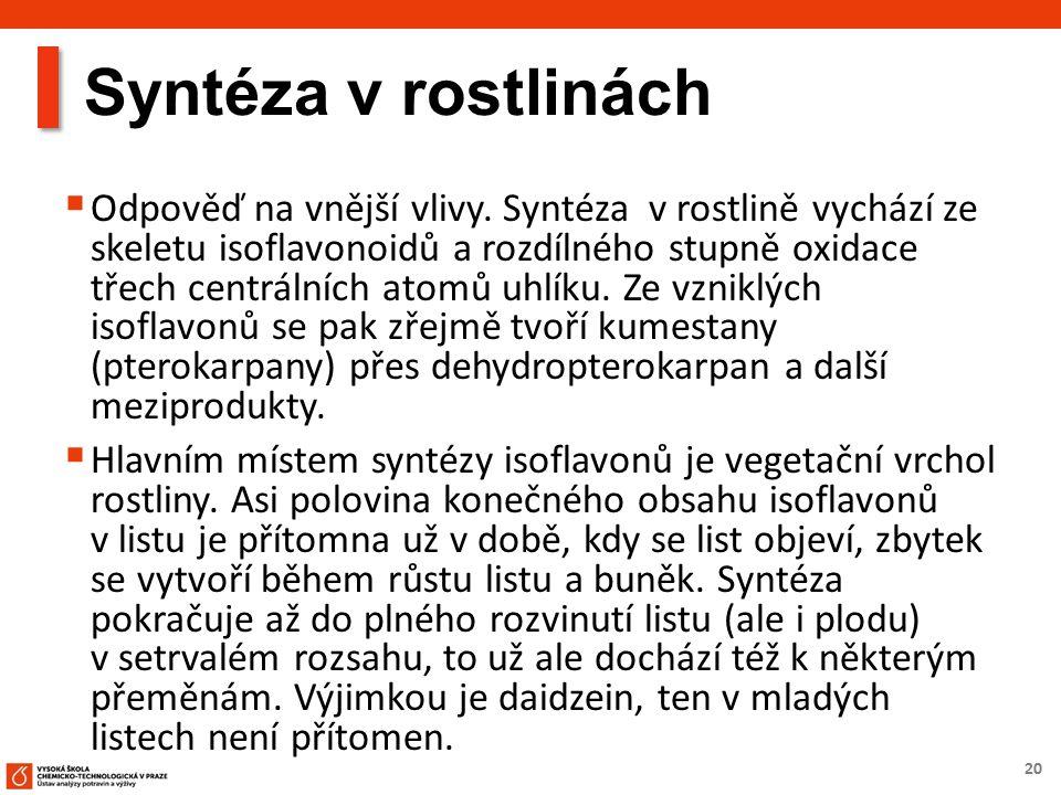 20 Syntéza v rostlinách  Odpověď na vnější vlivy. Syntéza v rostlině vychází ze skeletu isoflavonoidů a rozdílného stupně oxidace třech centrálních a