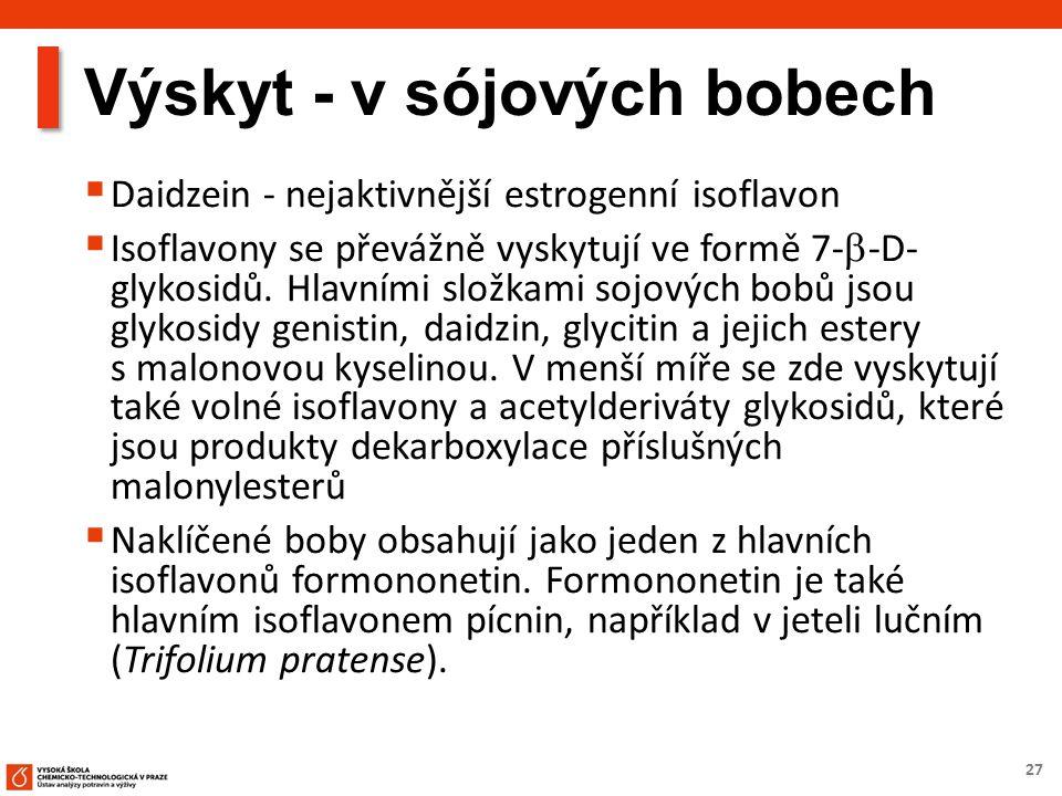 27 Výskyt - v sójových bobech  Daidzein - nejaktivnější estrogenní isoflavon  Isoflavony se převážně vyskytují ve formě 7-  -D- glykosidů. Hlavními
