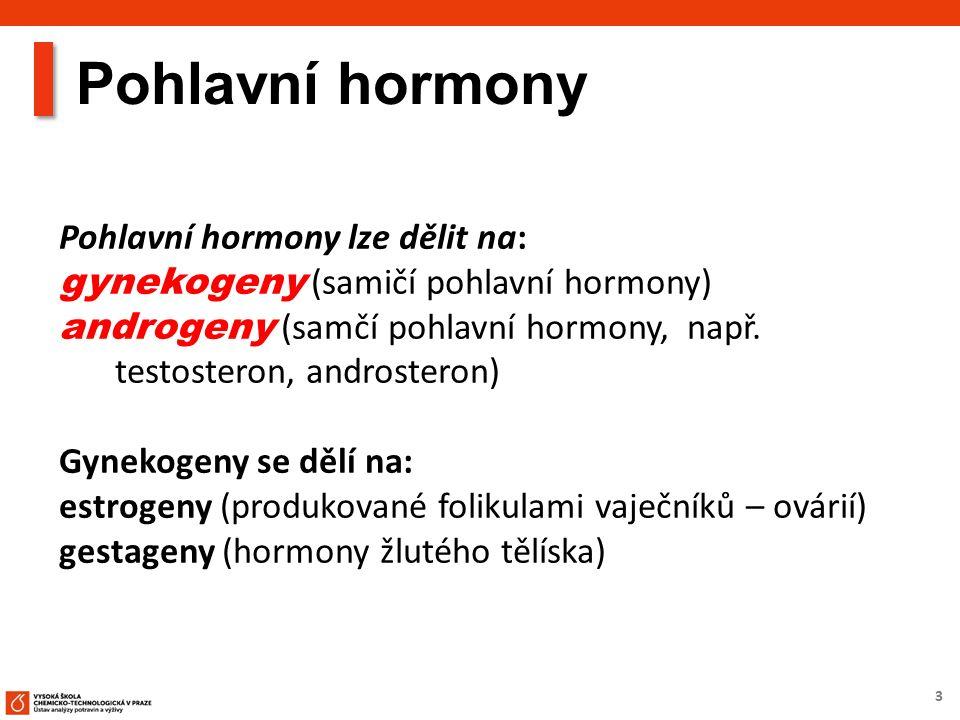 3 Pohlavní hormony lze dělit na: gynekogeny (samičí pohlavní hormony) androgeny (samčí pohlavní hormony, např. testosteron, androsteron) Gynekogeny se