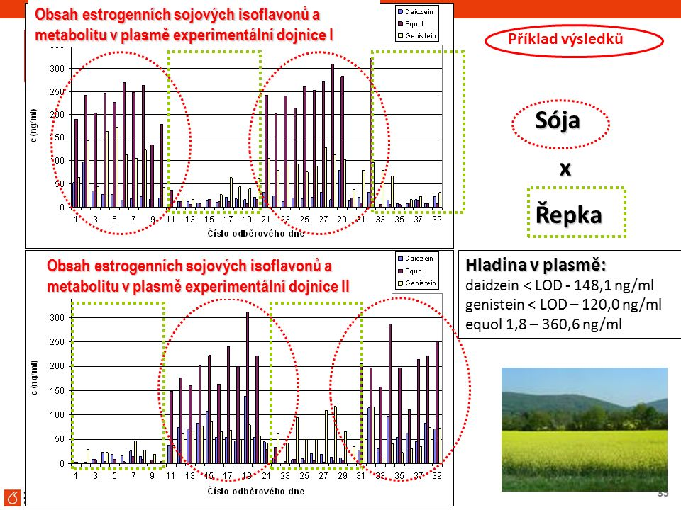 35 Hladina v plasmě: daidzein < LOD - 148,1 ng/ml genistein < LOD – 120,0 ng/ml equol 1,8 – 360,6 ng/ml Sója xŘepka Obsah estrogenních sojových isofla