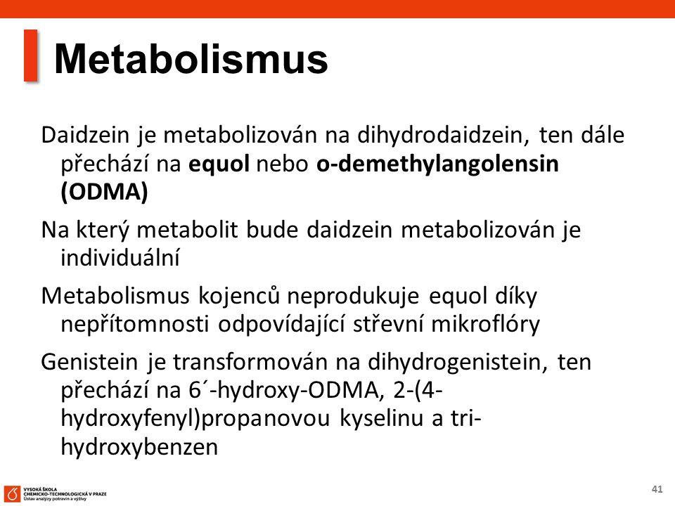41 Metabolismus Daidzein je metabolizován na dihydrodaidzein, ten dále přechází na equol nebo o-demethylangolensin (ODMA) Na který metabolit bude daid