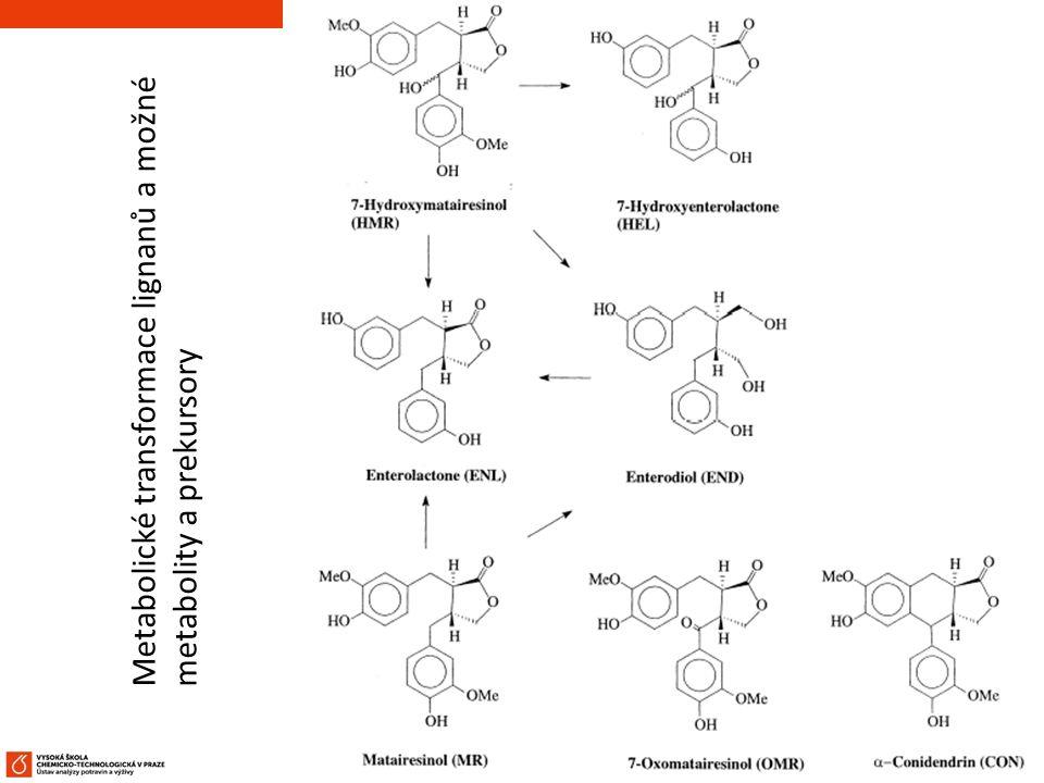 54 Metabolické transformace lignanů a možné metabolity a prekursory