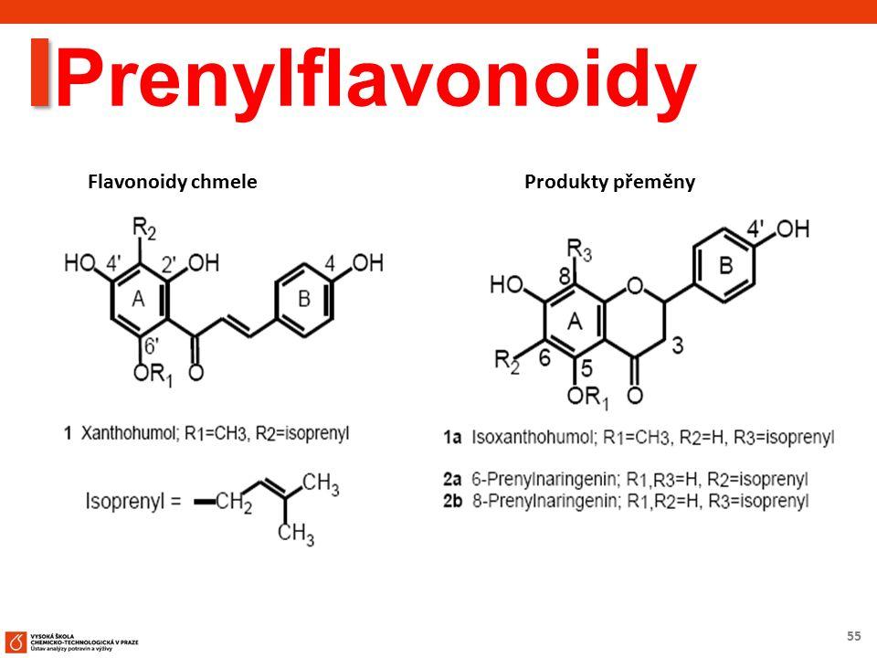 55 Prenylflavonoidy Flavonoidy chmele Produkty přeměny