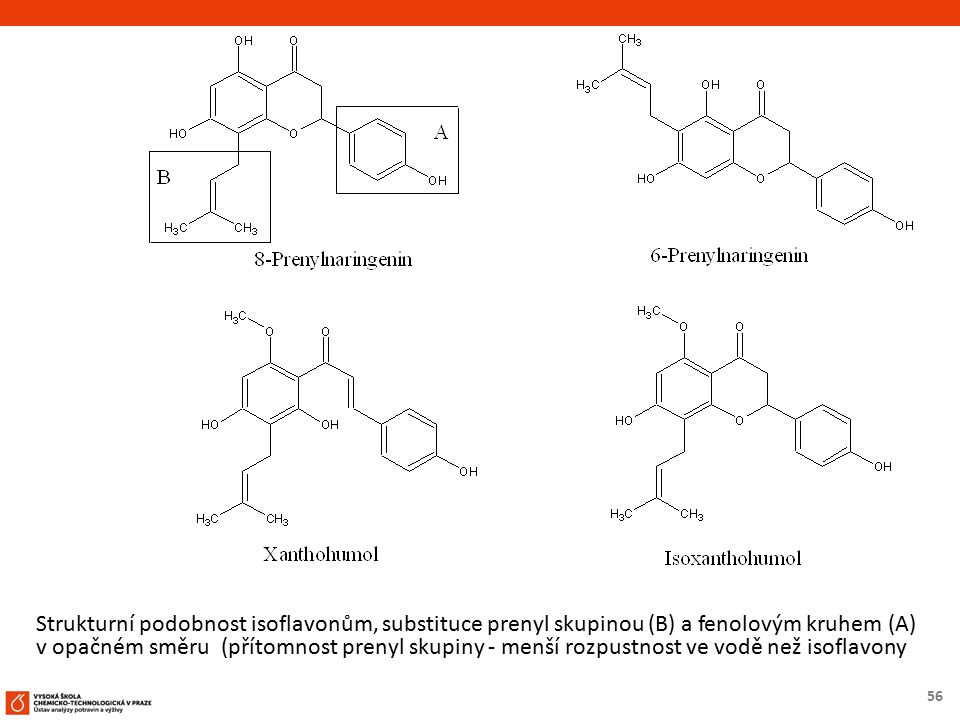 56 Strukturní podobnost isoflavonům, substituce prenyl skupinou (B) a fenolovým kruhem (A) v opačném směru (přítomnost prenyl skupiny - menší rozpustn