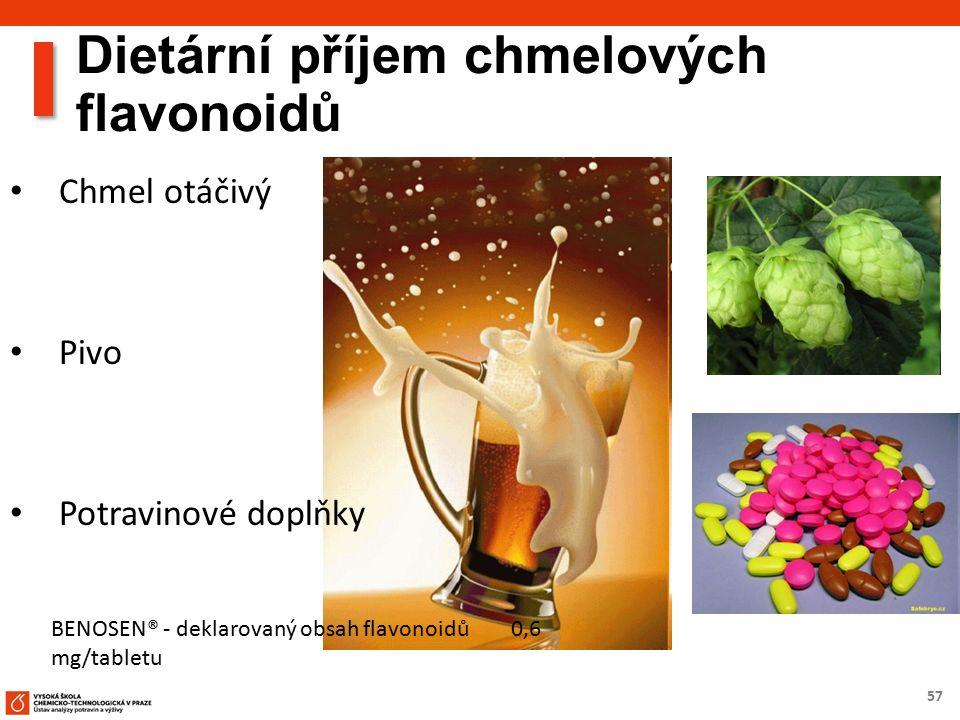 57 Dietární příjem chmelových flavonoidů Chmel otáčivý Pivo Potravinové doplňky BENOSEN® - deklarovaný obsah flavonoidů 0,6 mg/tabletu