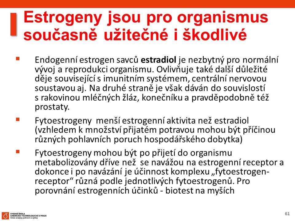 61 Estrogeny jsou pro organismus současně užitečné i škodlivé  Endogenní estrogen savců estradiol je nezbytný pro normální vývoj a reprodukci organis
