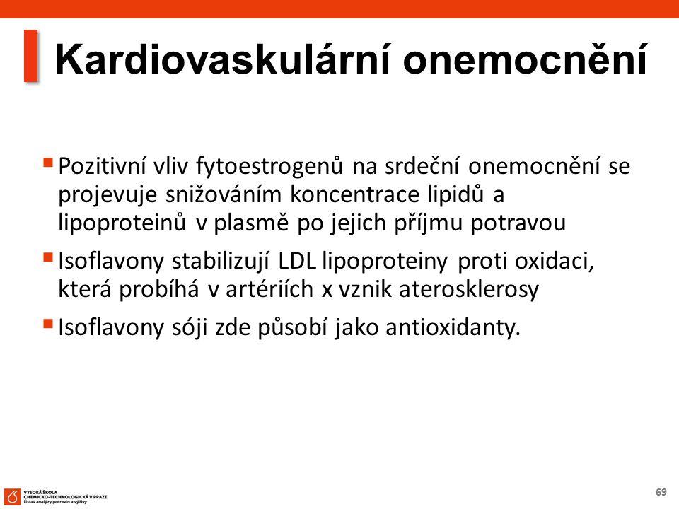 69 Kardiovaskulární onemocnění  Pozitivní vliv fytoestrogenů na srdeční onemocnění se projevuje snižováním koncentrace lipidů a lipoproteinů v plasmě