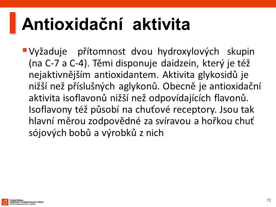 72 Antioxidační aktivita  Vyžaduje přítomnost dvou hydroxylových skupin (na C-7 a C-4). Těmi disponuje daidzein, který je též nejaktivnějším antioxid
