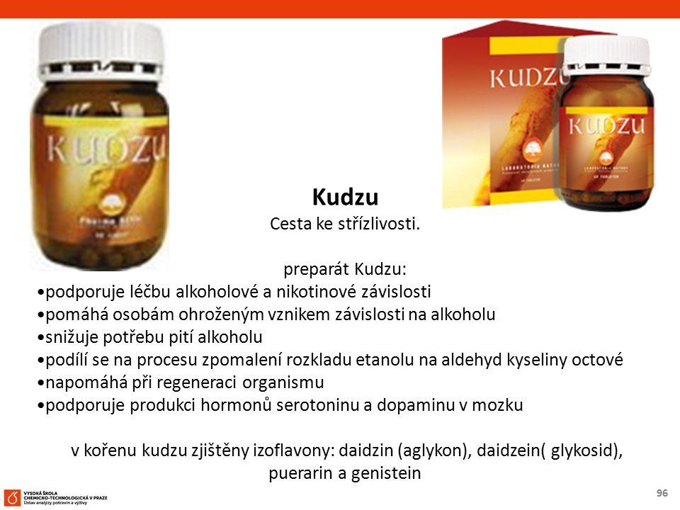96 Kudzu Cesta ke střízlivosti. preparát Kudzu: podporuje léčbu alkoholové a nikotinové závislosti pomáhá osobám ohroženým vznikem závislosti na alkoh