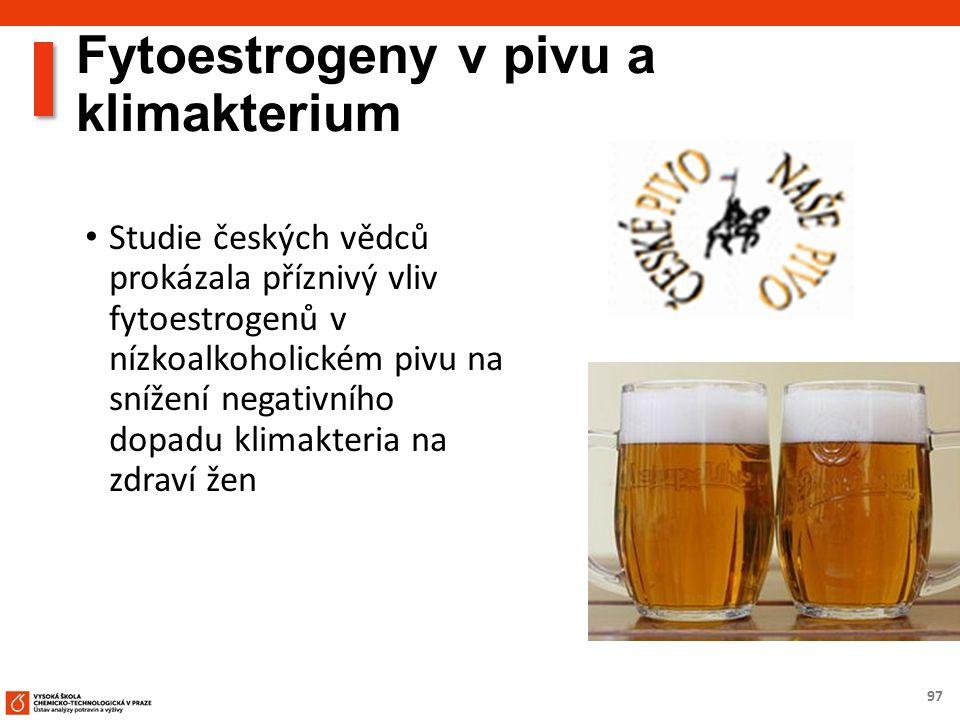 97 Fytoestrogeny v pivu a klimakterium Studie českých vědců prokázala příznivý vliv fytoestrogenů v nízkoalkoholickém pivu na snížení negativního dopa