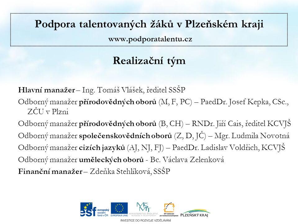Podpora talentovaných žáků v Plzeňském kraji www.podporatalentu.cz Realizační tým Hlavní manažer – Ing.