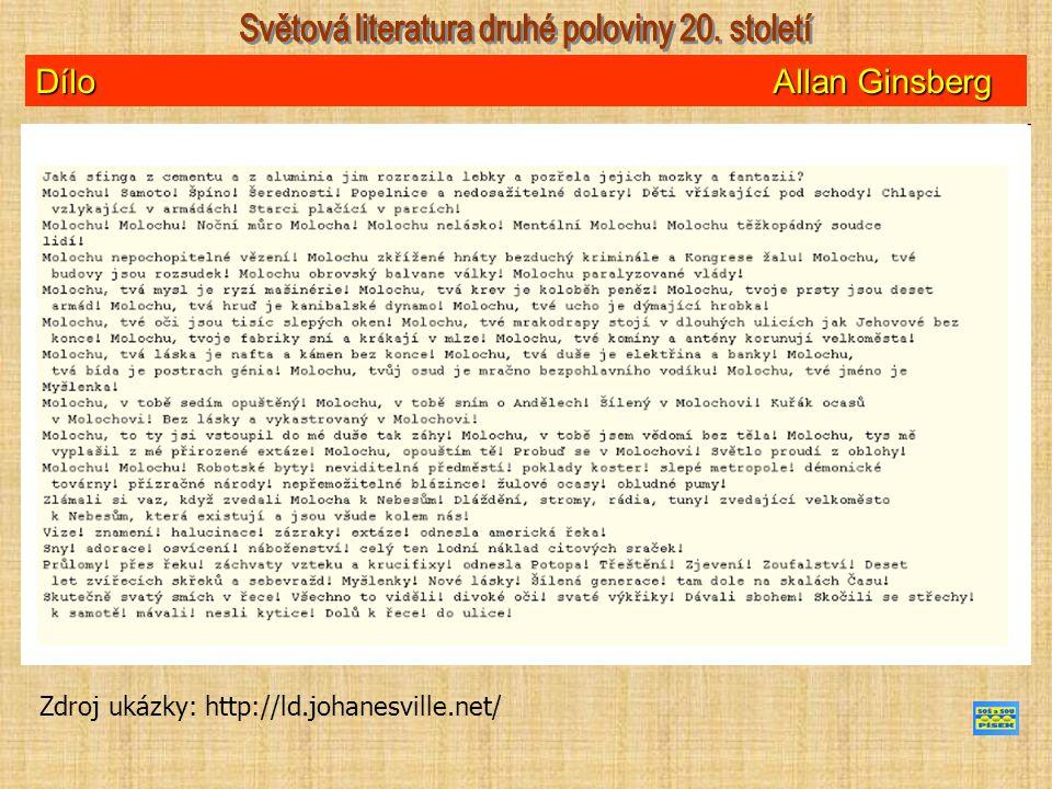 Dílo Allan Ginsberg Zdroj ukázky: http://ld.johanesville.net/
