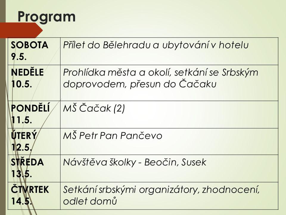 Program SOBOTA 9.5. Přílet do Bělehradu a ubytování v hotelu NEDĚLE 10.5.