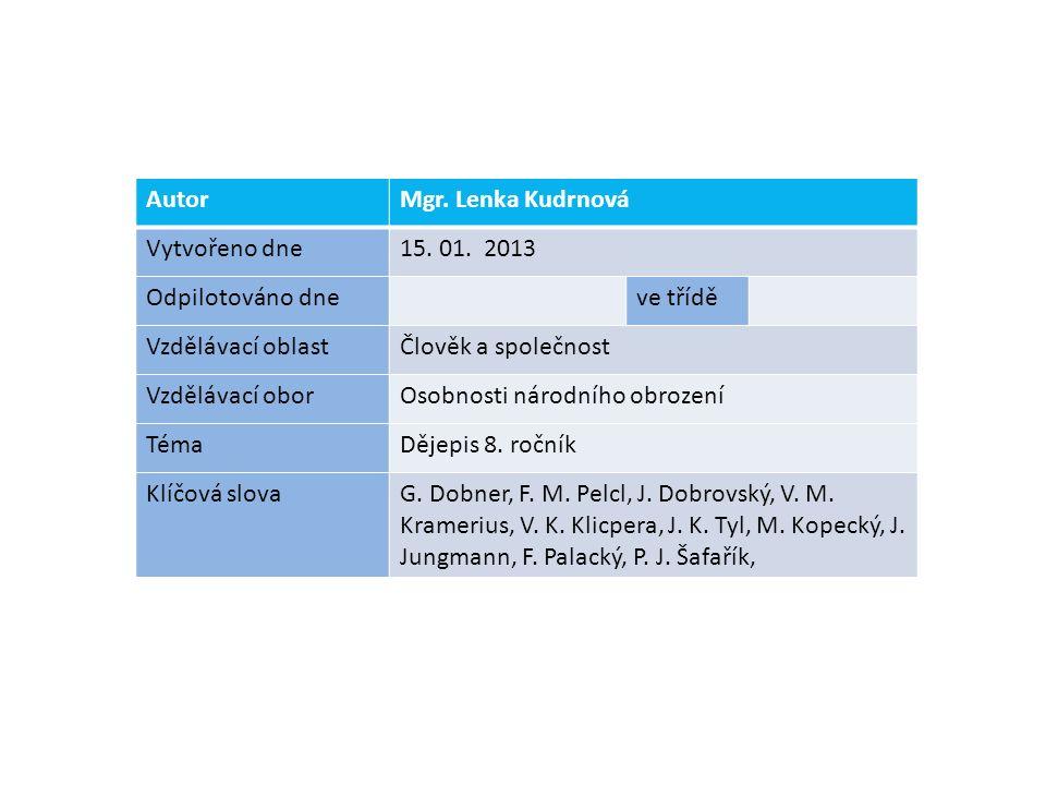 AutorMgr. Lenka Kudrnová Vytvořeno dne15. 01.