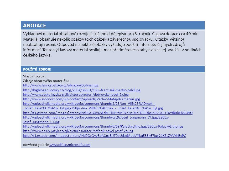 ANOTACE Výkladový materiál obsahově rozvíjející učebnici dějepisu pro 8. ročník. Časová dotace cca 40 min. Materiál obsahuje několik opakovacích otáze