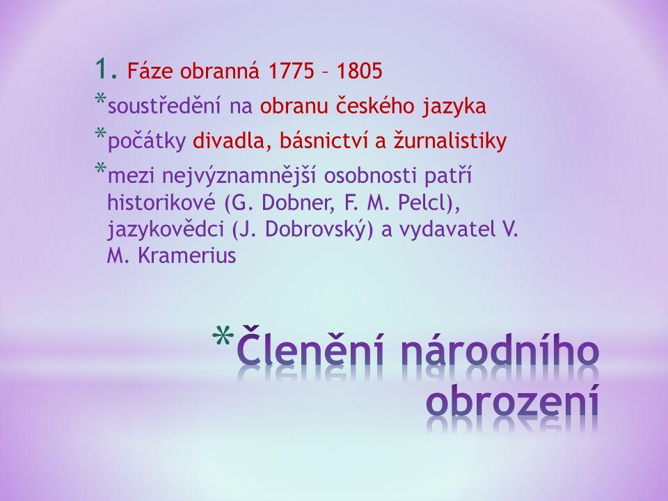 1. Fáze obranná 1775 – 1805 * soustředění na obranu českého jazyka * počátky divadla, básnictví a žurnalistiky * mezi nejvýznamnější osobnosti patří h