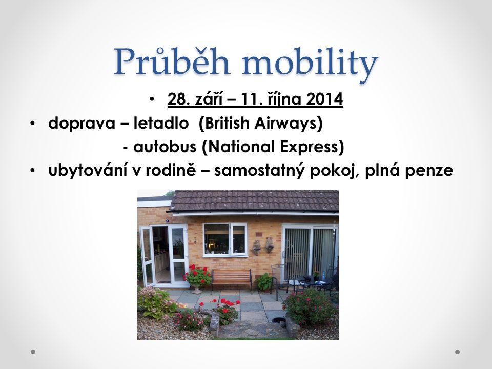 Průběh mobility 28. září – 11. října 2014 doprava – letadlo (British Airways) - autobus (National Express) ubytování v rodině – samostatný pokoj, plná