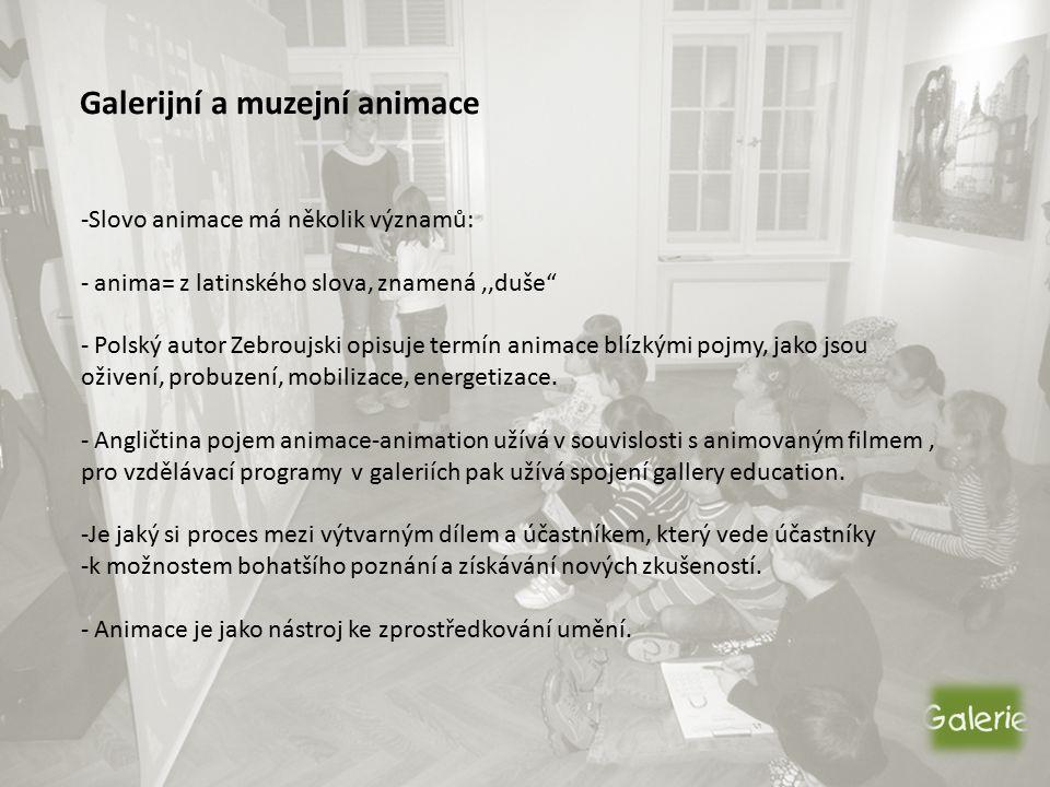 Galerijní a muzejní animace -Slovo animace má několik významů: - anima= z latinského slova, znamená,,duše - Polský autor Zebroujski opisuje termín animace blízkými pojmy, jako jsou oživení, probuzení, mobilizace, energetizace.