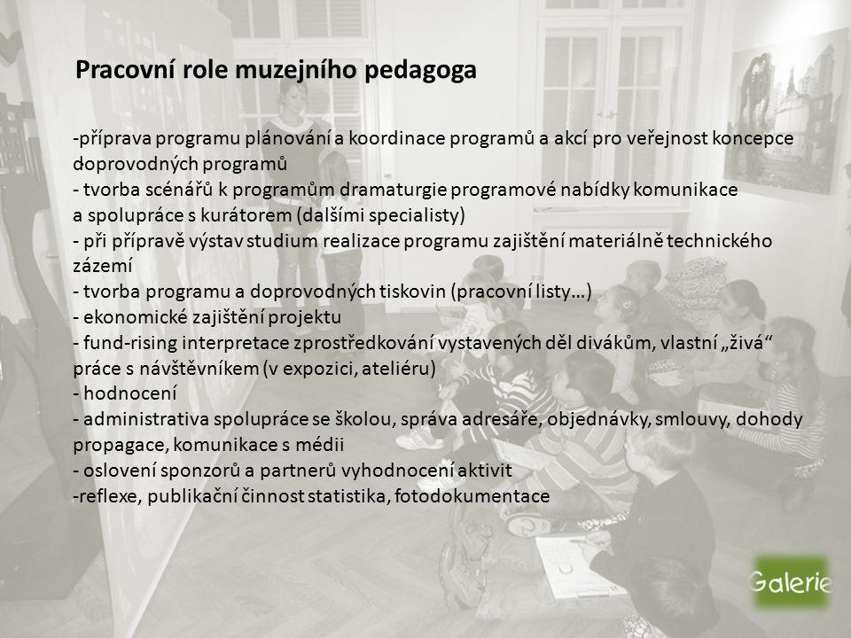 Pracovní role muzejního pedagoga.